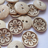 Pack of 20 Vintage 2-Hole Coconut Buttons, Coconut Button, Tan, 15mm
