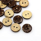 Pack of 20 Coconut Buttons, 2-Hole, Flat Round, CoconutBrown, 15x3mm, Hole: 2mm