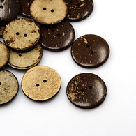 Pack of 390 Coconut Buttons, 2-Hole, Flat Round, CoconutBrown, 27x4mm