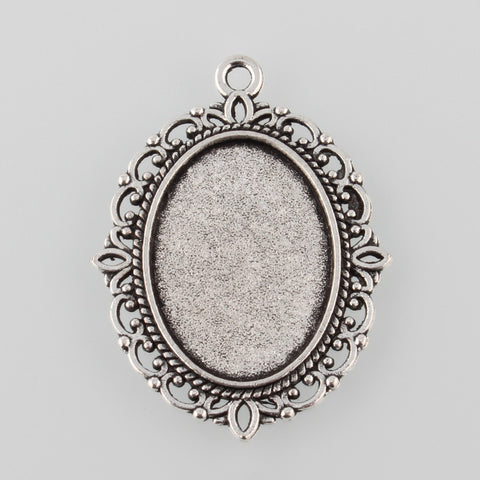 Pack of 10 Tibetan Style Antique Silver Alloy Flat Oval Pendant Cabochon Settings, Tray: 25x18mm; 40x30x2mm, Hole: 2mm;