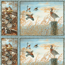 Quail Fabric South Sea Import Fabric  panel blue 1487