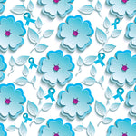 Cancer Fabric, Ovarian Cancer Fabric, Teal Daisy and Ribbon, Cotton or Fleece 1003 - Beautiful Quilt