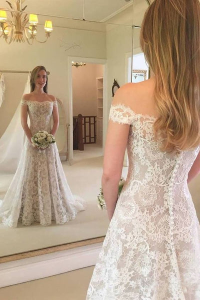 Off Shoulder Lace Wedding Dress, Fashion Custom Made Bridal Dresses, Plus Size Wedding dress BDS0648