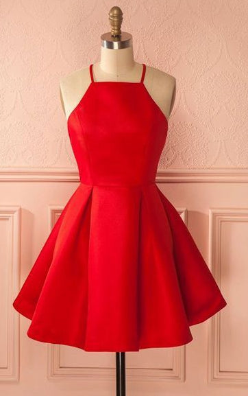 Simple Red Satin Short Prom Dress,Short Homecoming Dress,Short Sweet 16 PDS0500