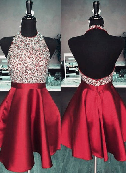 Open Back Burgundy Homecoming Dress, Short Beaded Prom Dress, Back To School Dress Party Dress,8th Grade Formal Dress PDS0755