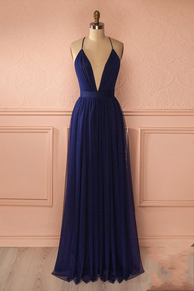 Simple Sexy A-Line Deep V-Neck Navy Blue Long Prom Dress PDS0405