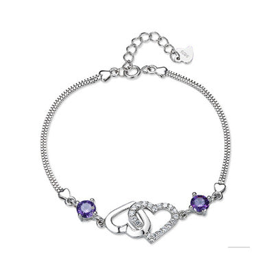925 Silver Plated Double Heart Bracelet  - Zaida Fashions