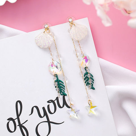 Shell Beaded Tassel Earrings  - Zaida Fashions