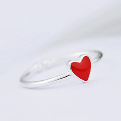 925 Silver Plated Heart Ring  - Zaida Fashions