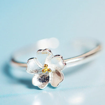 925 Silver Plated Sakura Flower Ring  - Zaida Fashions
