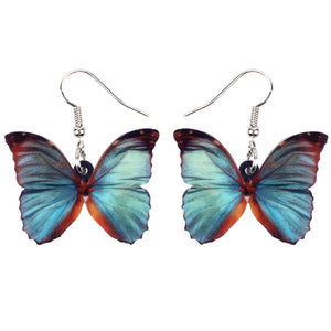 Grey Blue Butterfly Earrings  - Zaida Fashions