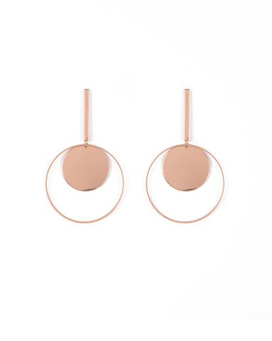 Rose Gold Tone Drop Hoop Disc Earrings