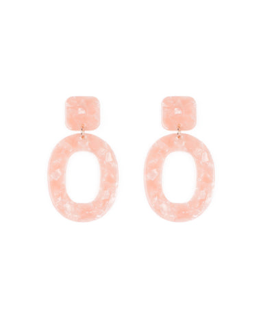 Pink Rose Gold Tone Acrylic Drop Hoop Earrings