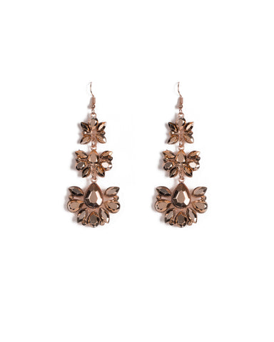 Rose Gold Tone Multi Stone Drop Earrings