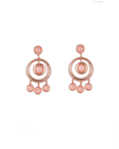 Pink Rose Gold Tone Drop Stone Hoop Earrings