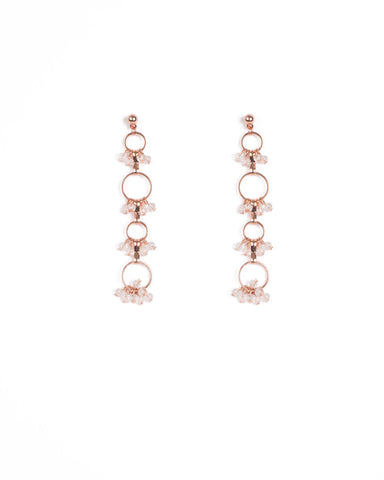 Rose Gold Tone Bead Hoop Drop Stud Earrings