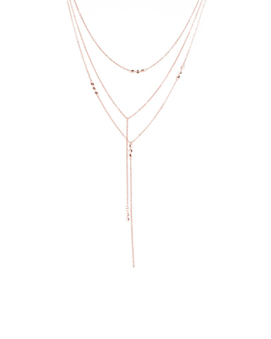 Rose Gold Tone Drop Disc Layered Long Necklace
