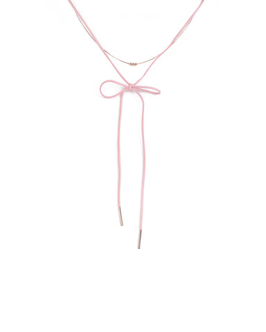Pink Rose Gold Tone Fine Choker With Rope Necklace