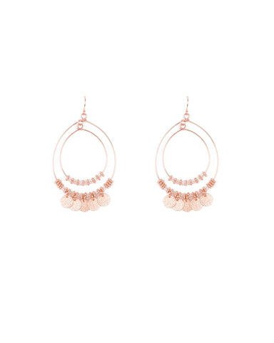 Rose Gold Tone Textured Disc Charm Fine Circle Earrings