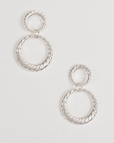 Silver Double Textured Drop Earrings