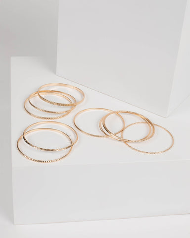 Gold Metal Detailed Bangle Pack
