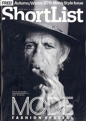The Rolling Stones KEITH RICHARDS PHOTO COVER SHORTLIST MAGAZINE SEPTEMBER 2015