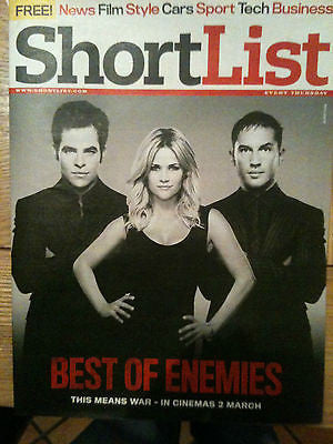 New Shortlist Magazine: TOM HARDY CHRIS PINE REESE WITHERSPOON RYAN REYNOLDS