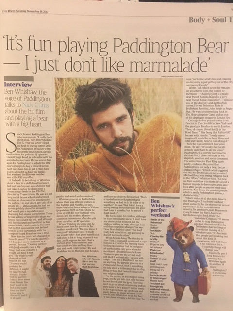 UK Times Weekend November 2017 Ben Whishaw Paddington Photo Interview