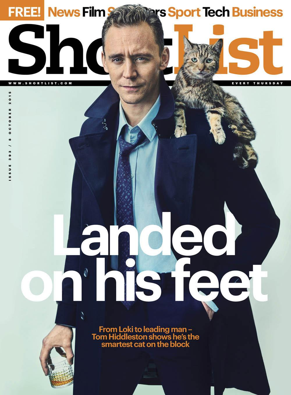 (UK) SHORTLIST MAGAZINE OCT 8 2015 TOM HIDDLESTON CRIMSON PEAK PHOTO INTERVIEW