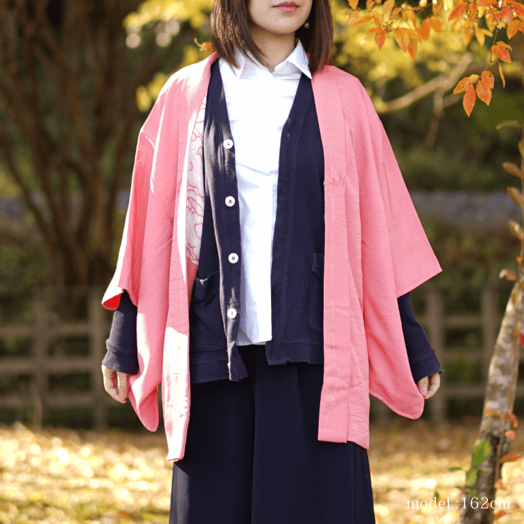 Pink with flower design haori,Japanese kimono,womens haori