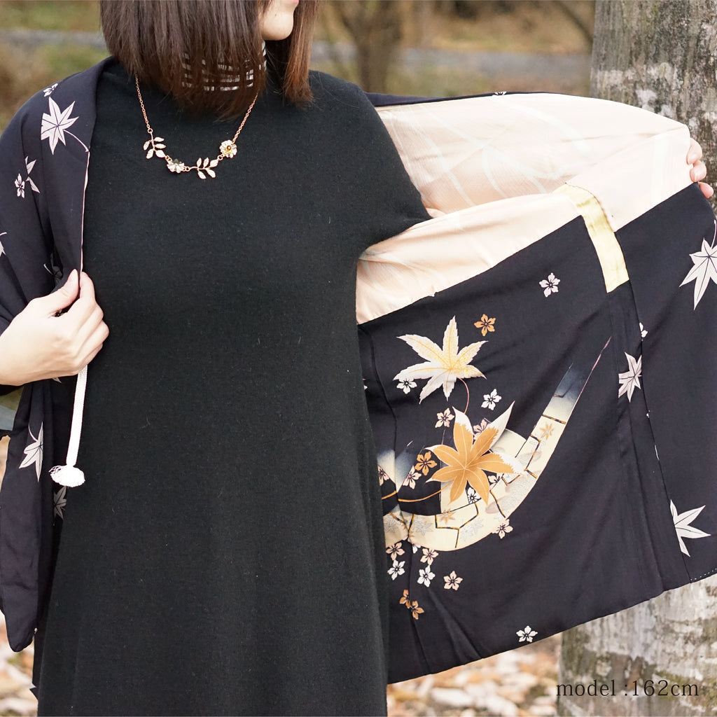 Black haori with white maple leaf design,Japanese kimono,womens haori