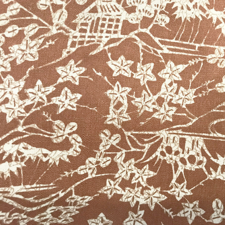 Light brown haori with white flowerplants pattern,Japanese kimono,womens haori