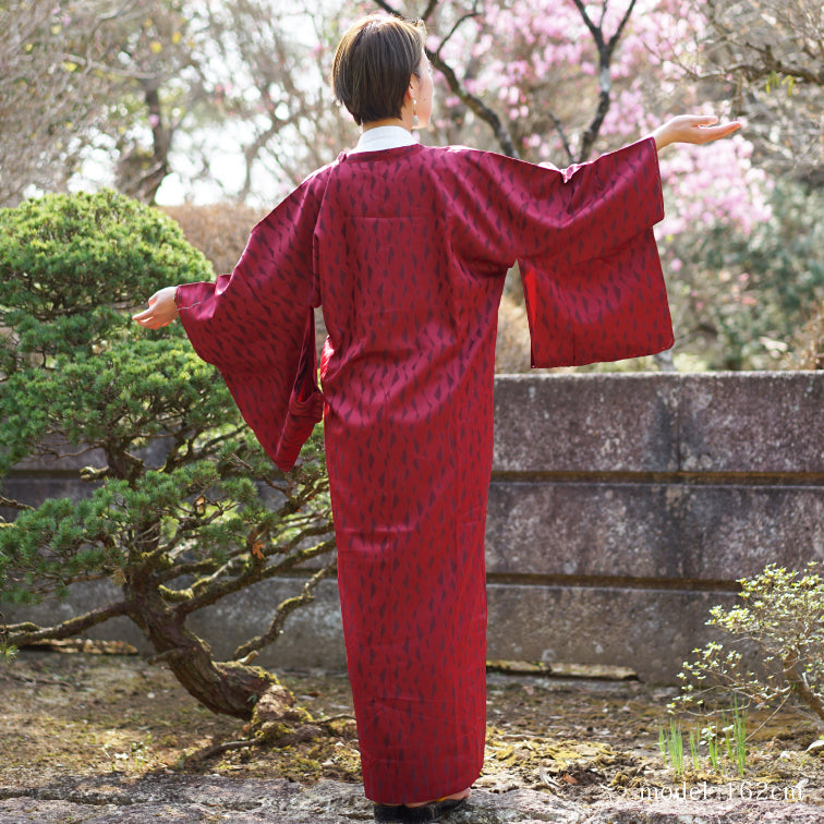 Dark red long Michiyuki with lined pattern,Japanese kimono,womens haori