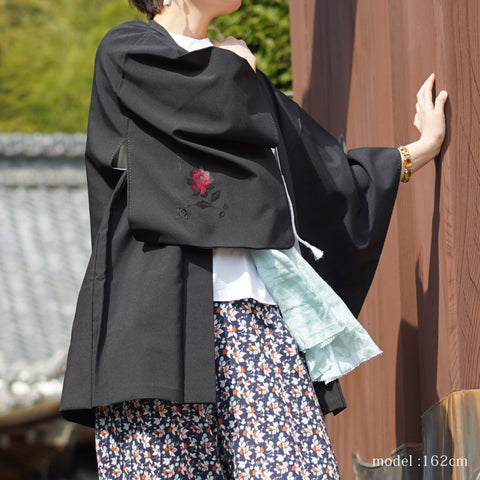 Black haori with red and blue flower embroidery,Japanese kimono,womens haori