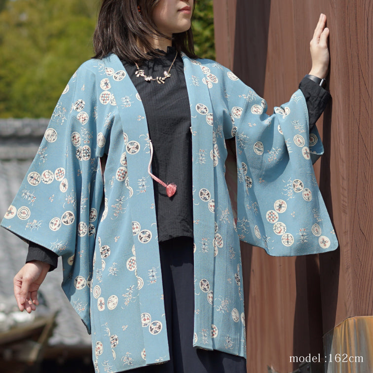 Soft blue haori with japanese traditional motif design,Japanese kimono,womens haori
