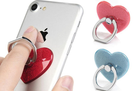 Cell Phone Ring, Universal Glitter Phone Ring Stand Holder, 360 Degree Finger Ring Holder For iPhone Samsung etc Car Mount Grip, Heart Phone Ring Creols - Tokyo Fashion