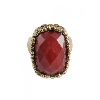 Barse Rectangular Raspberry Quartz Ring