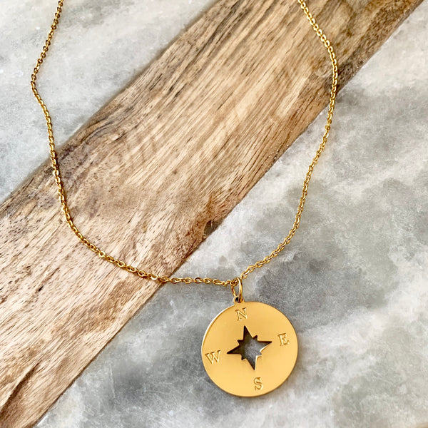 wanderlust compass necklace - gigglosophy