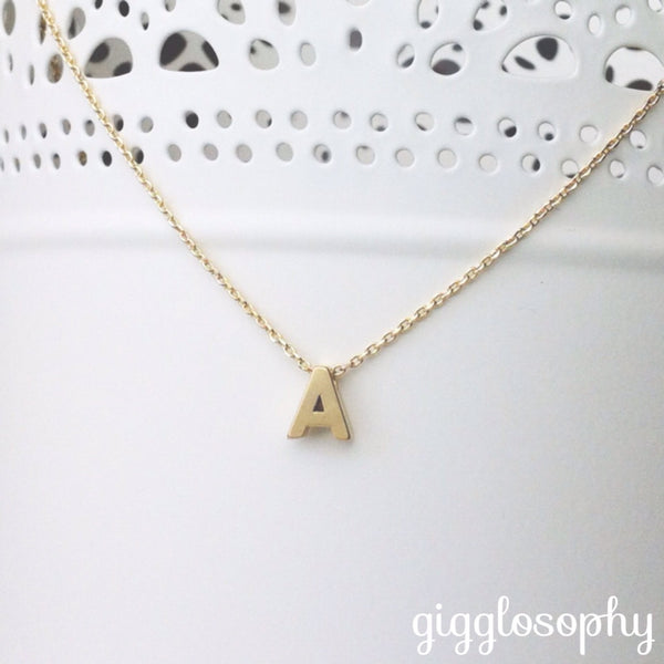 small initial necklace - gigglosophy