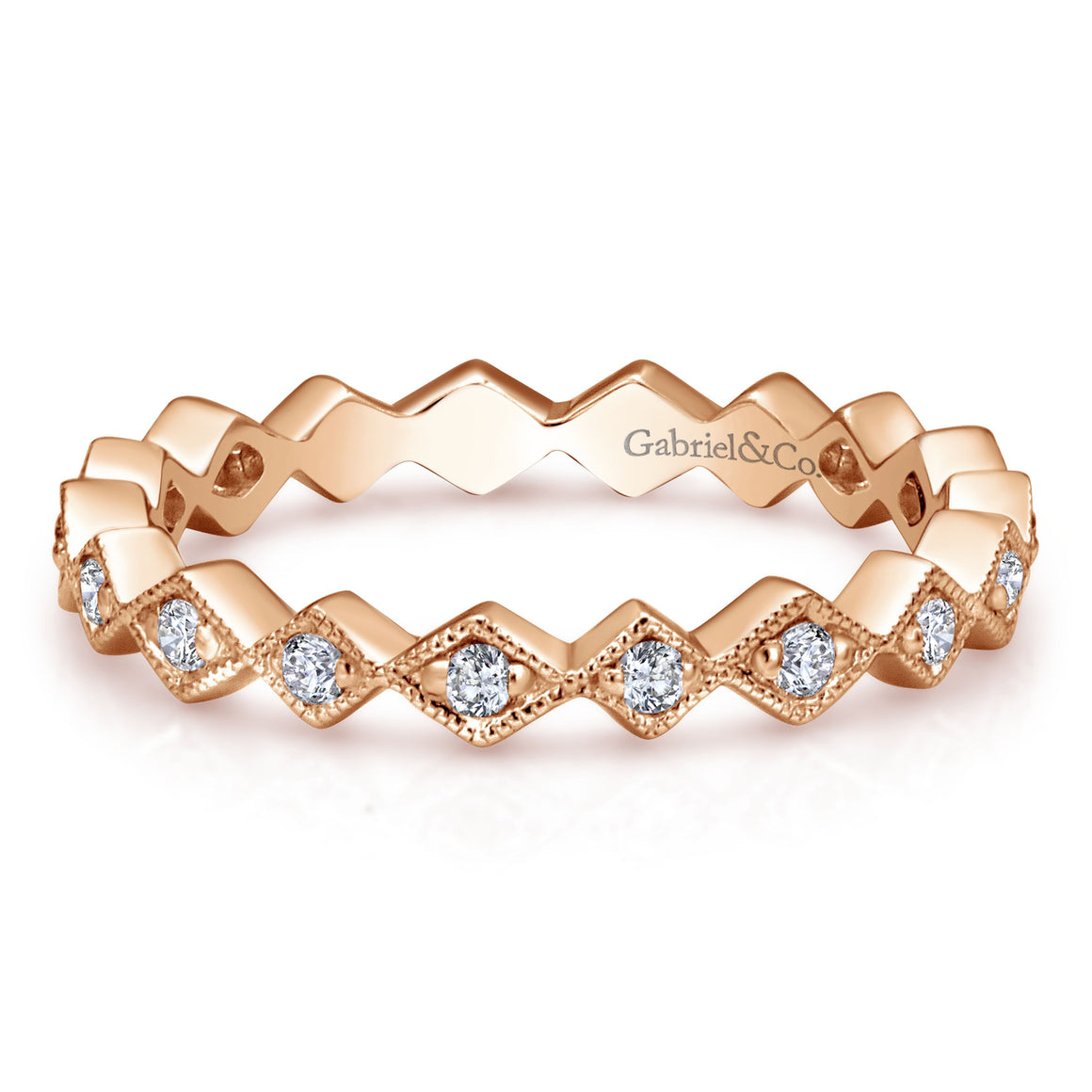 14K Rose Gold Stackable Diamond Ladies' Ring