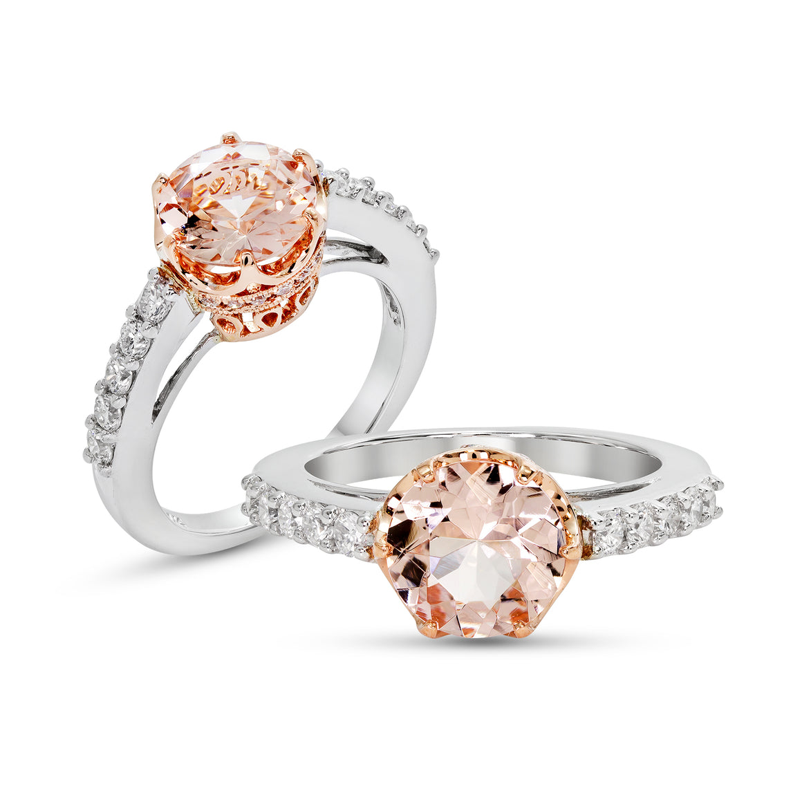 14kt White and Rose Gold Morganite and Diamond Ring