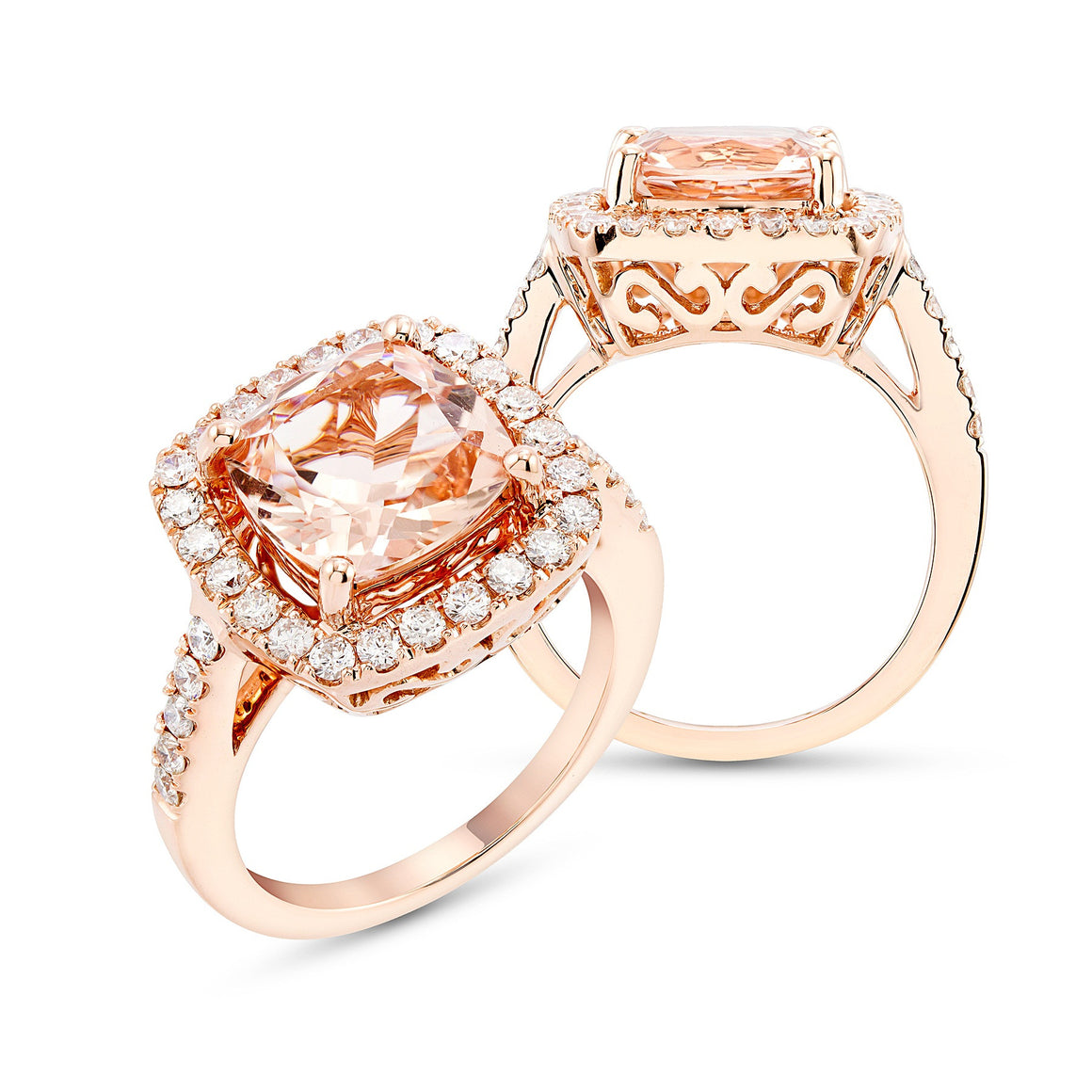 Rose Gold, Cushion Cut Morganite and Daimond Ring