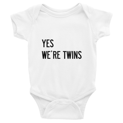 Yes We're Twins Baby Onesie (White)
