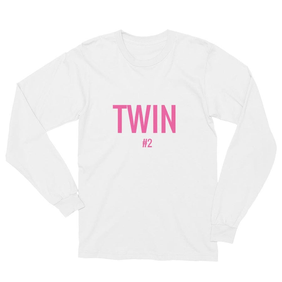 Twin #2 Print Long-sleeve Shirt (White)