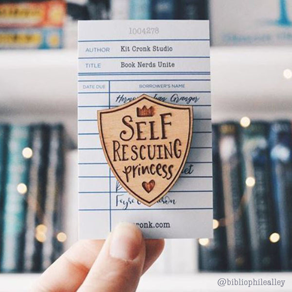 Self Rescuing Princess Feminist Nerd Girl Brooch Pin Teen Book Gift