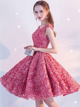 Beautiful Homecoming Dress Scoop Lace-up Lace Short Prom Dress Party Dress JK069