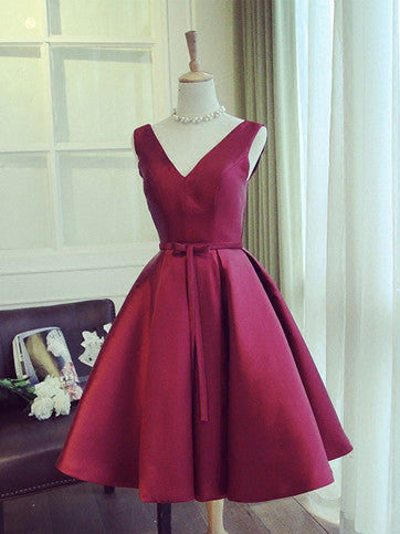 2017 Homecoming Dress Satin V-neck Bowknot Burgundy Short Prom Dress Party Dress JK216