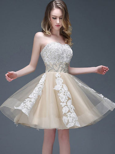 2017 Homecoming Dress Cute Sweetheart Champagne Dress Short Prom Dress Party Dress JK255
