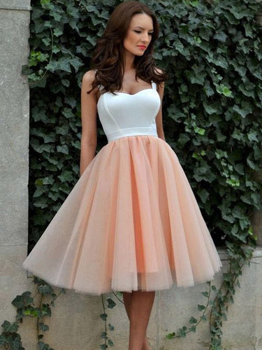 Cheap Homecoming Dress Sexy Straps Tulle Short Prom Dress Party Dress JK298