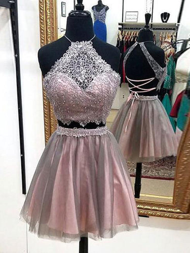Two Piece Homecoming Dress Sexy Lace Halter Tulle Short Prom Dress Party Dress JK384|Annapromdress